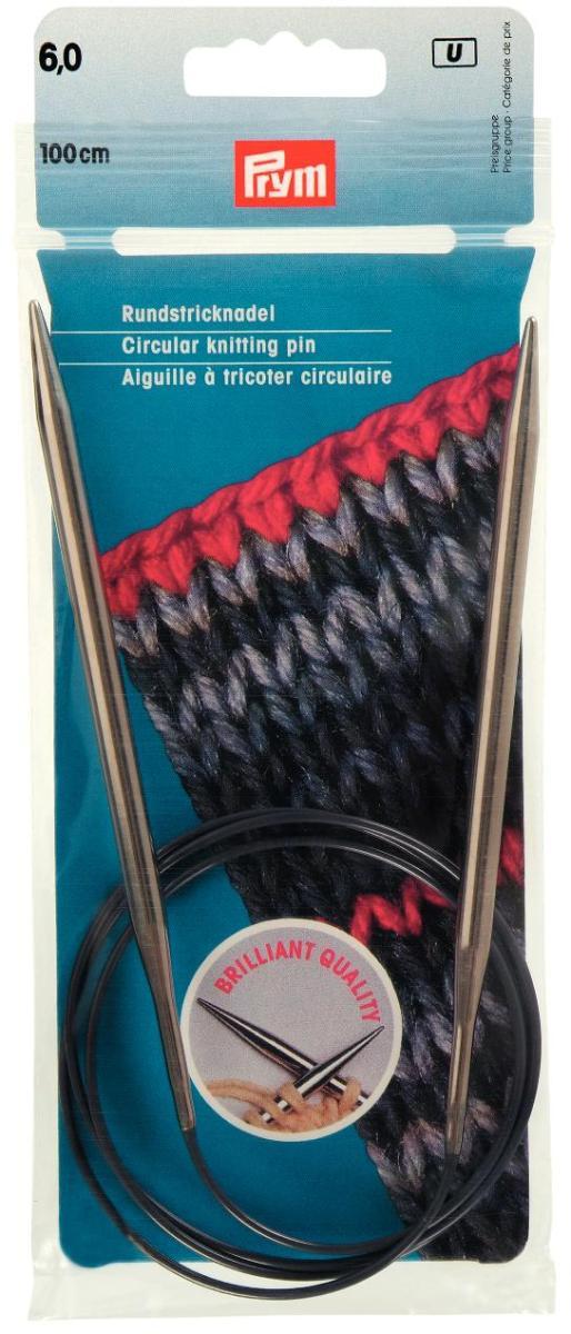 Спицы Prym, латунные, круговые, диаметр 6 мм, длина 100 см212186Спицы для вязания Prym изготовлены из латуни. Кончики спиц закругленные. Спицы скреплены гибким пластиковым шнуром. Они прочные, легкие, гладкие, удобные в использовании. Круговые спицы наиболее удобны для выполнения деталей и изделий, не имеющих швов. Короткими круговыми спицами вяжут бейки горловины, воротники-гольф, длинными спицами можно вязать по кругу целые модели. Вы сможете вязать для себя, делать подарки друзьям. Рукоделие всегда считалось изысканным, благородным делом. Работа, сделанная своими руками, долго будет радовать вас и ваших близких.