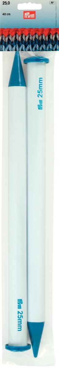 Спицы Prym пластиковые, прямые, диаметр 25 мм, длина 40 см, 2 шт218236Спицы для вязания Prym изготовлены из пластика. Спицы прочные, легкие, гладкие, удобные в использовании. Ограничители препятствуют соскальзыванию петель. С такими спицами вязать пледы, подушки, длинные свитера и другие изделия теперь станет намного проще. Вы сможете вязать для себя и делать подарки друзьям. Рукоделие всегда считалось изысканным, благородным делом. Работа, сделанная своими руками, долго будет радовать вас и ваших близких.