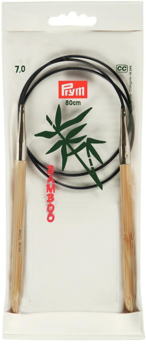 Спицы Prym, бамбуковые, круговые, диаметр 7 мм, длина 80 см221511Спицы для вязания Prym изготовлены из натурального бамбука. Кончики спиц закругленные. Спицы скреплены гибким пластиковым шнуром. Круговые спицы наиболее удобны для выполнения деталей и изделий, не имеющих швов. Короткими круговыми спицами вяжут бейки горловины, воротники-гольфы, длинными спицами можно вязать по кругу целые модели. Спицы прочные, легкие, гладкие, удобные в использовании. Вы сможете вязать для себя, делать подарки друзьям. Рукоделие всегда считалось изысканным, благородным делом. Работа, сделанная своими руками, долго будет радовать вас и ваших близких.