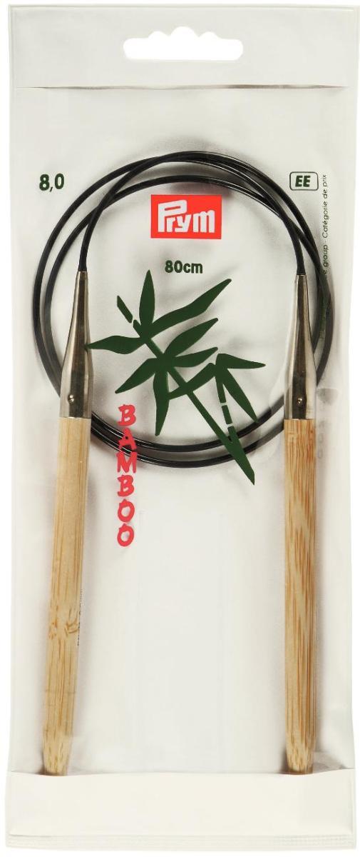 Спицы Prym, бамбуковые, круговые, диаметр 8 мм, длина 80 см221512Спицы для вязания Prym изготовлены из натурального бамбука. Кончики спиц закругленные. Спицы скреплены гибким пластиковым шнуром. Круговые спицы наиболее удобны для выполнения деталей и изделий, не имеющих швов. Короткими круговыми спицами вяжут бейки горловины, воротники-гольфы, длинными спицами можно вязать по кругу целые модели. Спицы прочные, легкие, гладкие, удобные в использовании. Вы сможете вязать для себя, делать подарки друзьям. Рукоделие всегда считалось изысканным, благородным делом. Работа, сделанная своими руками, долго будет радовать вас и ваших близких.