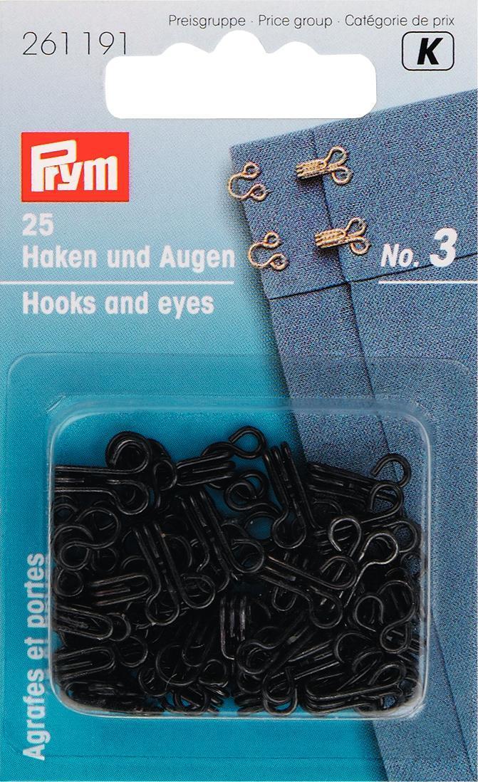 Крючки для одежды Prym, с глазками для пришивания, цвет: черный, №3, 25 шт261191Крючки для одежды Prym - прекрасная замена пуговицам. Крючки выполнены из мягкой (малоуглеродистой) стали и оснащены глазками для пришивания. В комплекте - 25 крючков.