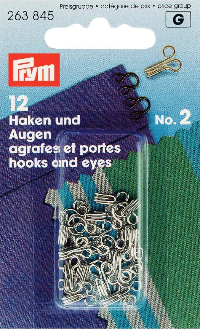 Крючки для одежды Prym, с глазками для пришивания, цвет: серебристый, №2, 12 шт263845Крючки для одежды Prym - прекрасная замена пуговицам. Крючки выполнены из латуни с цветным покрытием и оснащены глазками для пришивания. Нержавеющие. В комплекте - 12 крючков.