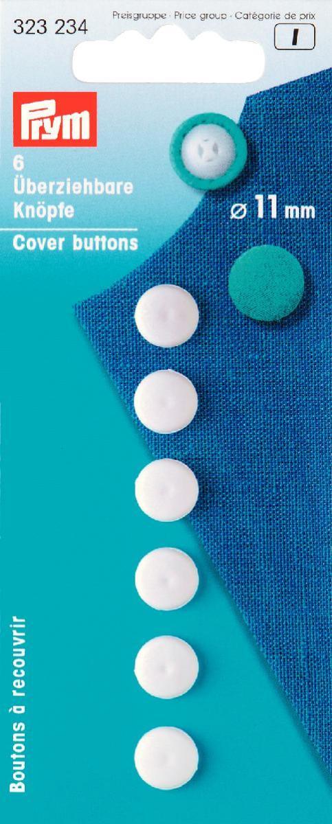 Пуговицы для обтягивания тканью Prym, 11 мм, 6 шт323234Пуговицы для обтягивания тканью Prym выполнены из пластика белого цвета. Они позволят изготовить пуговицы нужного вам цвета. Достаточно обтянуть пуговицы тканью и закрепить нитью.