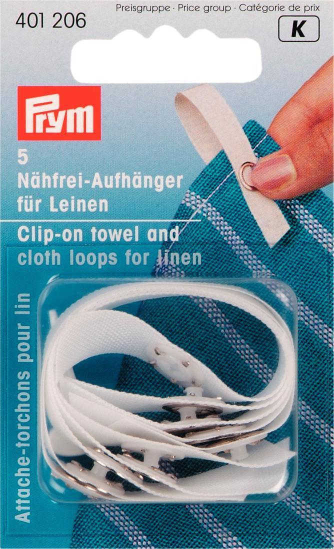 Непришивные вешалки для полотенец Prym, 5 шт401206Непришивные вешалки для полотенец Prym представляют собой ленту из полиэстера белого цвета. Оснащены кнопкой, с помощью которой крепятся к ткани. Подходят для льняной ткани и полотенец. С помощью такой вешалки полотенце или любую ткань будет удобно вешать на крючок.