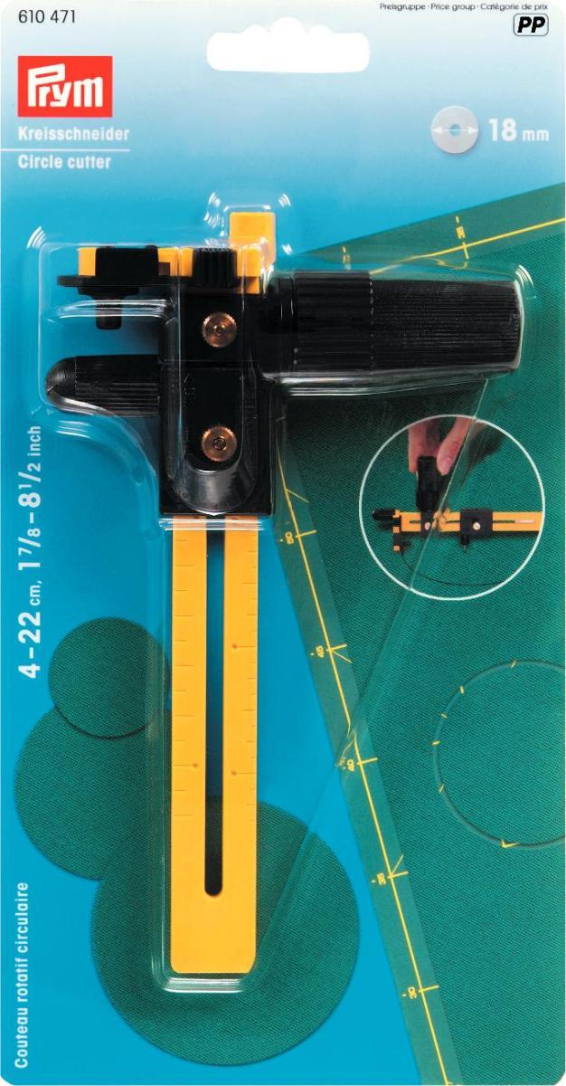 Нож-циркуль Prym, круговой, цвет: желтый, черный610471Круговой нож-циркуль Prym выполнен из металла и цветного пластика и предназначен для вырезания кругов на ткани диаметром 4-22 см. Изделие оснащено регулируемой рукояткой. Круговой нож-циркуль Prym идеален для раскроя деталей в лоскутных техниках компас, бычий глаз, йо-йо.