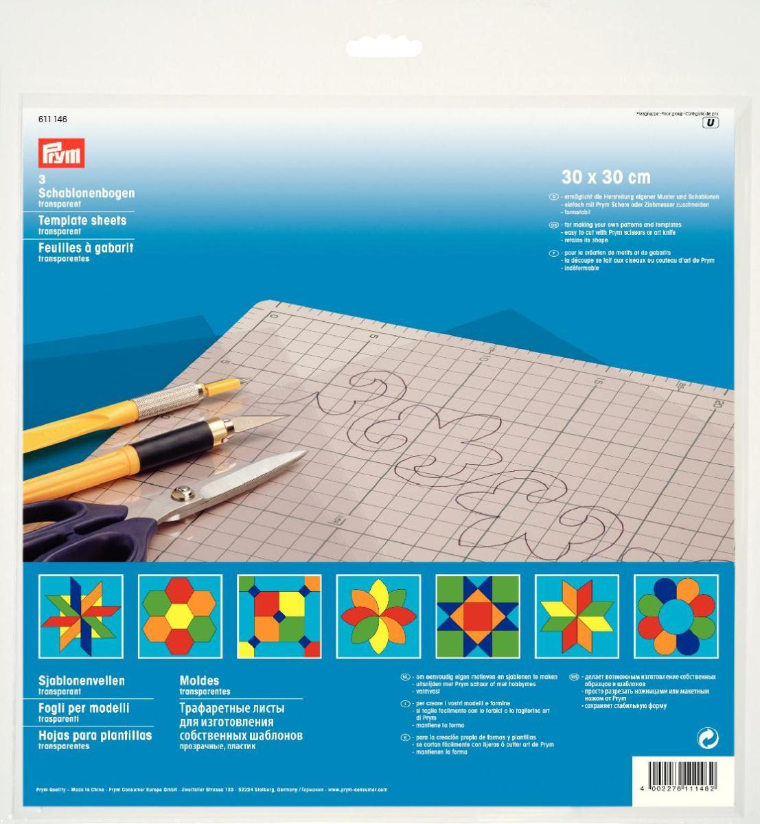 Трафаретные листы Prym, цвет: прозрачный, 30 см х 30 см, 3 шт611146Трафаретные листы Prym выполнены из пластика и предназначены для изготовления собственных шаблонов. Набор включает в себя 3 прозрачных листа. Изделие идеально подходит для пэчворка. Особенности: - делает возможным изготовление собственных образцов и шаблонов; - просто разрезать ножницами или макетным ножом; - сохраняет стабильную форму.