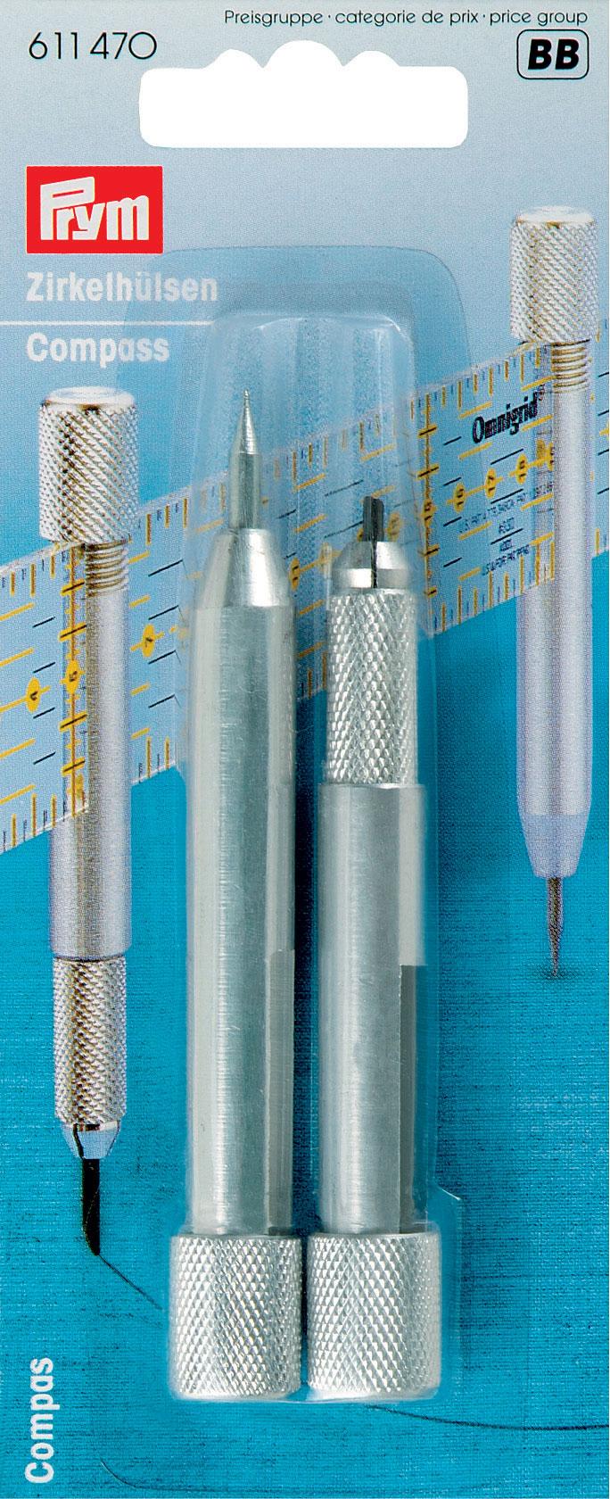 Втулки для циркуля Prym, на линейку, 2 шт611470Втулки для циркуля Prym изготовлены из металла. Удобны для вычерчивания кругов на ткани, бумаге. Оснащены специальными отверстиями для линейки шириной 3 см.