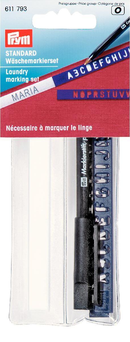 Набор для маркировки белья Prym, 3 предмета611793Набор Prym предназначен для маркировки белья. В состав входит: - приутюживающаяся лента, - перманентный маркер, - шаблоны. С помощью набора Prym вы сможете быстро и аккуратно промаркировать белье.