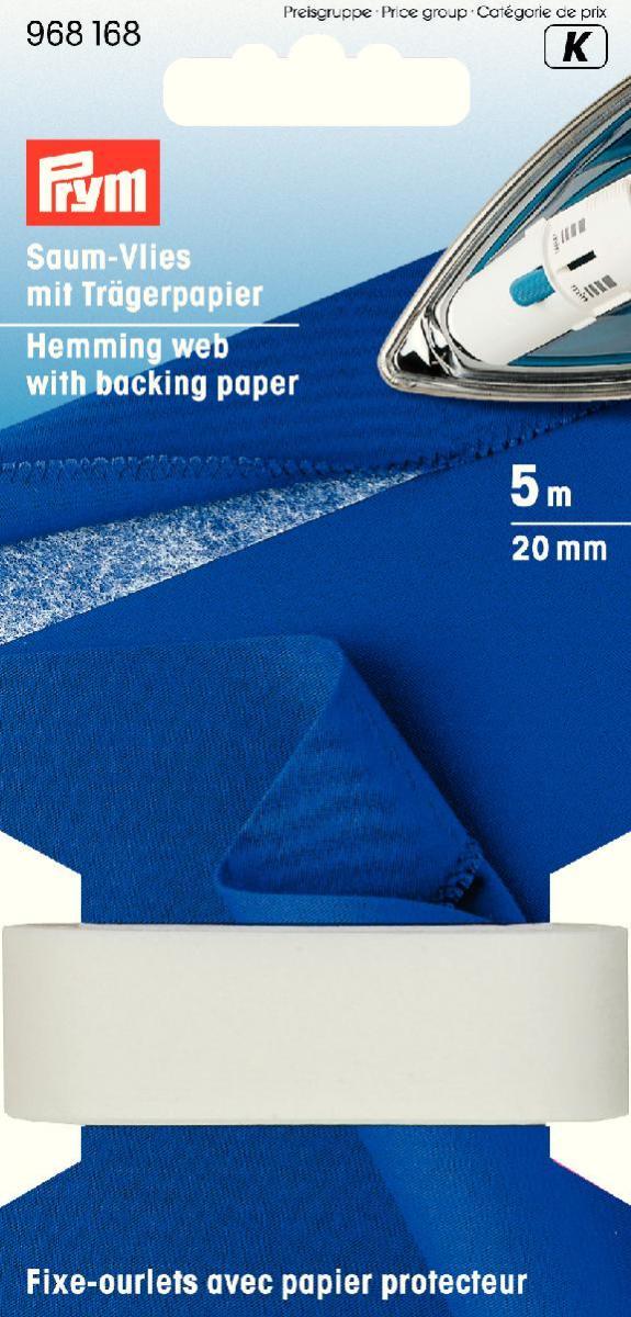 Лента флизелиновая Prym для подгибов, с бумажным защитным слоем, цвет: белый, ширина 2 см, длина 5 м968168Флизелиновая лента Prym, изготовленная из полиамида, предназначена для усиления швов и подгибов изделия. Лента оснащена бумажным защитным слоем. Используется на трикотажных и эластичных тканях, препятствует деформации и растяжению.