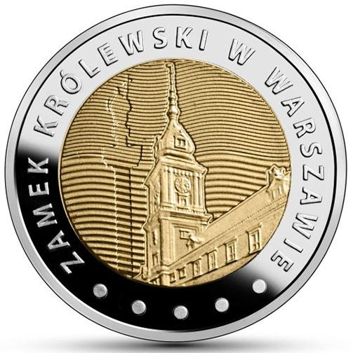 Монета номиналом 5 злотых Королевский замок в Варшаве. Польша, 2014 год656Материал: Биметалл. Диаметр: 2,4 см. Тираж, шт.: 1 200 000. Качество: АЦ.