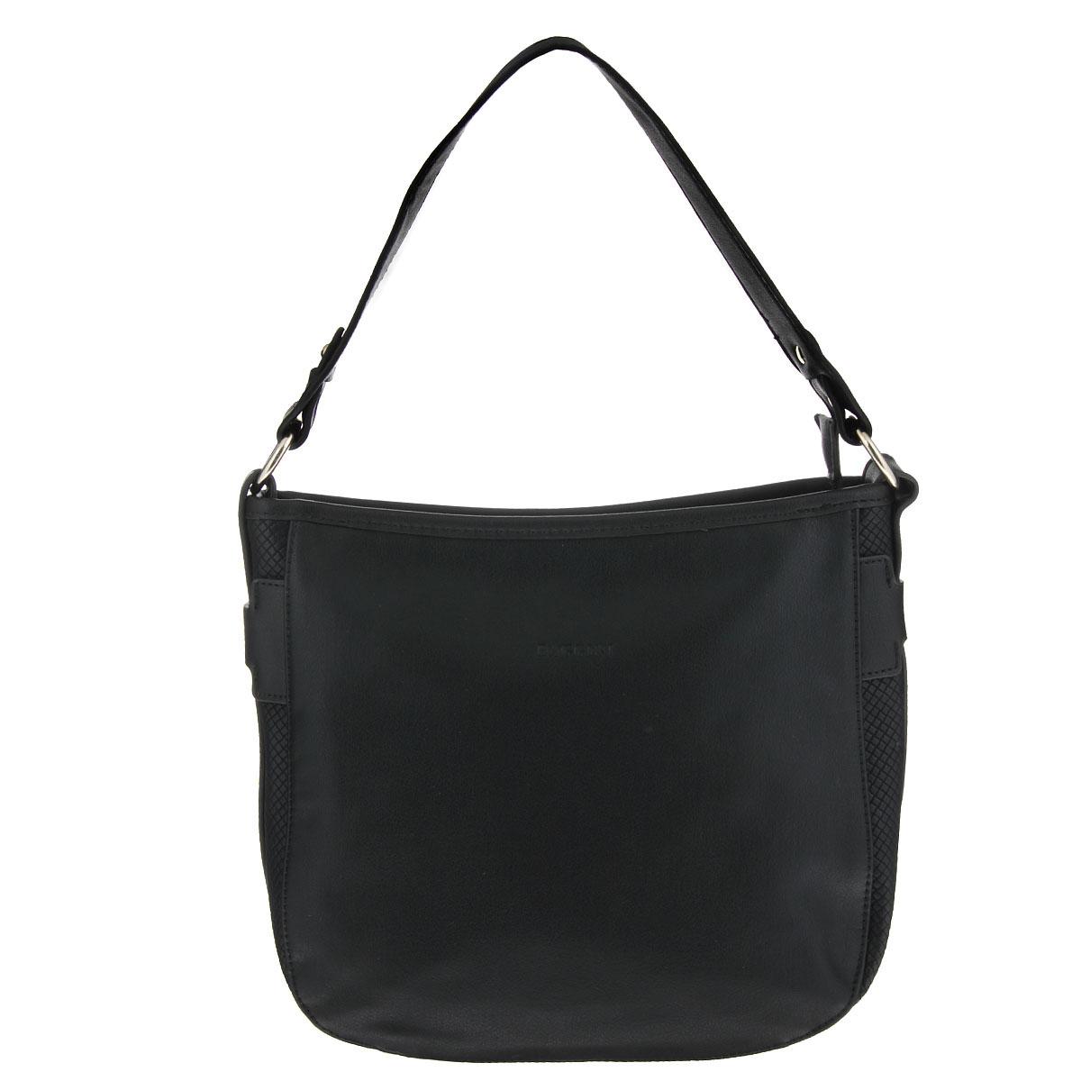 Сумка женская Baggini, цвет: черный. 29452/1029452/10Изысканная женская сумка Baggini изготовлена из высококачественной искусственной кожи и декорирована вставками с тиснением. Сумка закрывается на застежку-молнию и имеет одно вместительное отделение, разделенное пополам карманом-средником на молнии. Внутри - два накладных кармашка для мелочей, мобильного телефона и втачный карман на застежке-молнии. На внешней задней стороне сумки расположен карман на застежке-молнии. По бокам сумка оформлена декоративными ремешками с металлическими клепками. Элегантная сумка отлично дополнит ваш повседневный и выходной образы, а также подчеркнет ваш отменный вкус.