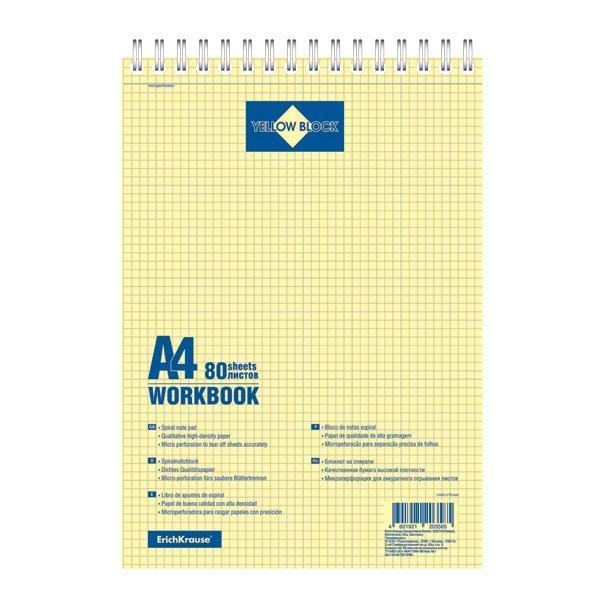 Erich Krause Блокнот на спирали, А4 80л Yellow Block, желтый внутр. Блок20358Обложка:картон мелованный 170 г/м2. Блок: бумага офсетная 65 г/м2