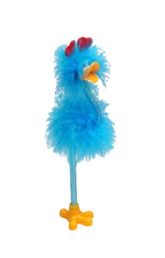 Ручка шариковая синяя FLAMINGO 0,7 мм в цветном корпусе в форме фламинго с цветным пухом на подставке. 8296582965