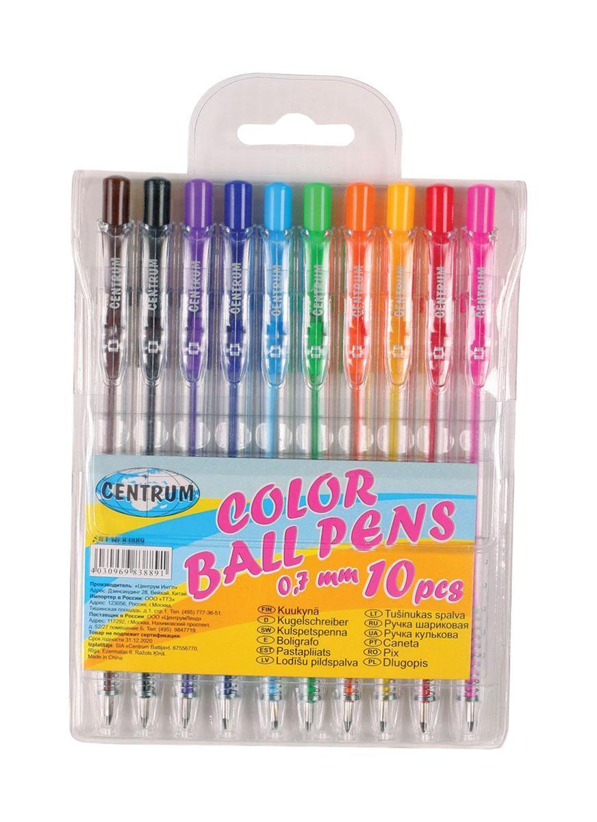 Набор 10 цветных шариковых автоматических ручек 0,7 мм (цвета коричневый, черный, сиреневый, синий, голубой, зеленый, оранжевый, желтый, красный, розовый), корпус прозрачный, в ПВХ-упаковке с подвесом 83889