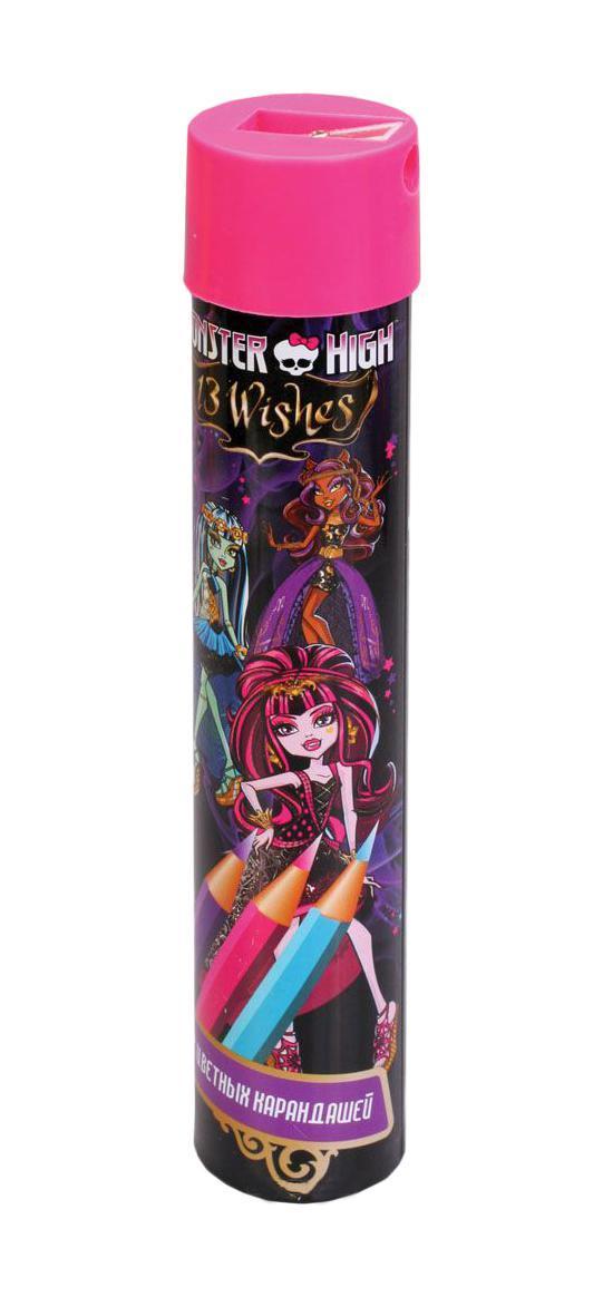 Карандаши цветные -12 цветов Мonster high,длинные в металлическом тубксе,с точилкой 85046