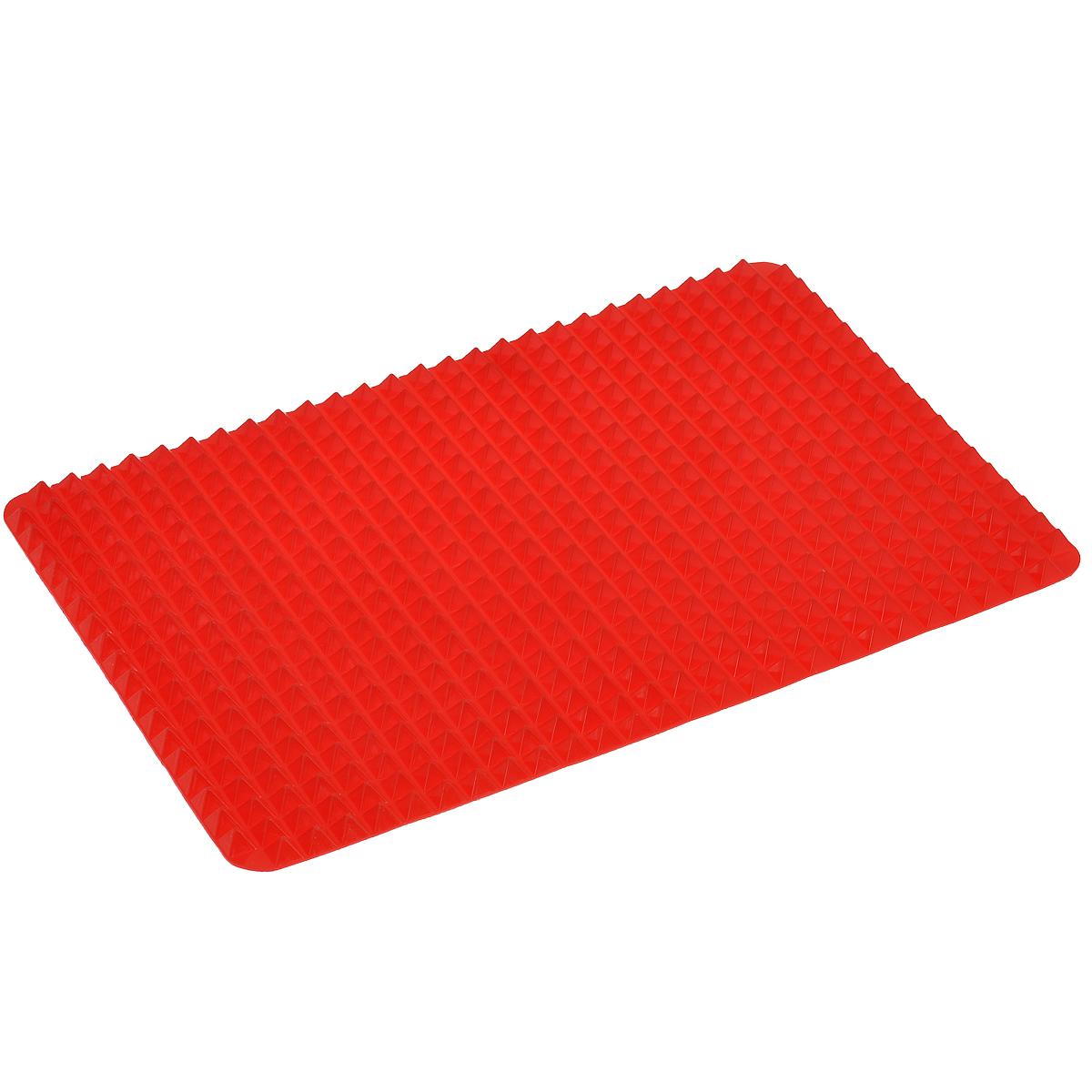 Коврик силиконовый Bradex Пирамида, цвет: красный, 41 х 29 смTK 0110Силиконовый коврик Bradex Пирамида поможет приготовить вкусную и здоровую пищу. Благодаря специальной форме коврика лишний жир стекает вниз, оставаясь на коврике, а не на стенках Вашей посуды. С силиконовым ковриком Вы значительно сократите количество потребляемых калорий, не меняя диеты. Горячий воздух свободно циркулирует между пиками пирамиды, сокращая время готовки и не давая пище пригорать. Силиконовый коврик не пахнет при нагревании и легко отмывается. Чтобы питаться правильно, не обязательно отказываться от любимых блюд. Главное их правильно готовить! С силиконовым ковриком Вы сможете наслаждаться любимыми блюдами, не опасаясь за свое здоровье. Подходит для приготовления луковых колец, рыбы и чипсов, сосисок, пиццы, мяса. Можно мыть в посудомоечной машине и использовать в микроволновой печи. Выдерживает температуру до 220°С.