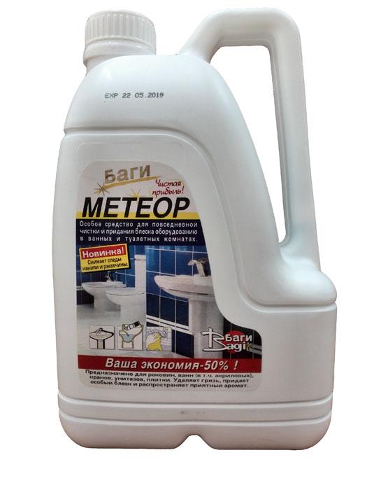 Средство для сантехники Bagi Метеор, 3 лBG-B-310218-0Средство Bagi Метеор предназначено для чистки и придания блеска унитазам, раковинам, керамической плитке и кранам. Эффективно очищает, дезинфицирует и придает блеск, снимает накипь и ржавчину, удаляет стойкие пятна, грязь, остатки мыла, придает приятный аромат. В состав входят: неорганическая кислота, активизированные вещества, ароматизатор.