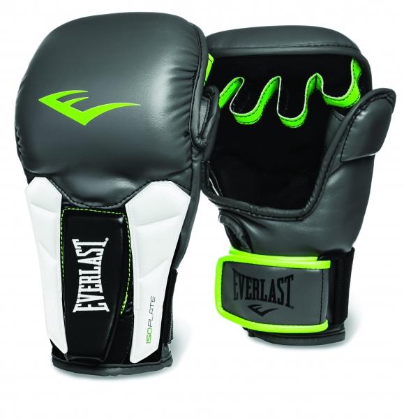 Перчатки тренировочные Everlast Prime MMA, цвет: серый, зеленый. Размер L/XL3200000Everlast Prime MMA — универсальные тренировочные перчатки высшего класса, которые можно использовать как при работе на лапах, так и в спаррингах. Изготовлены из мягкой искусственной кожи высшего качества, способной выдержать самые интенсивные нагрузки. Вставки из пенного материала ISOPLATE в области запястий предотвращают возможные растяжения и обеспечивают поддержку, достаточную даже для профессиональных бойцов. Конструкция нового модельного ряда позволяет с одинаковым успехом оттачивать в этих перчатках не только традиционные удары, но и технику грэпплинга. Модель предназначена для бойцов высочайшего класса, а также быстро прогрессирующих любителей.
