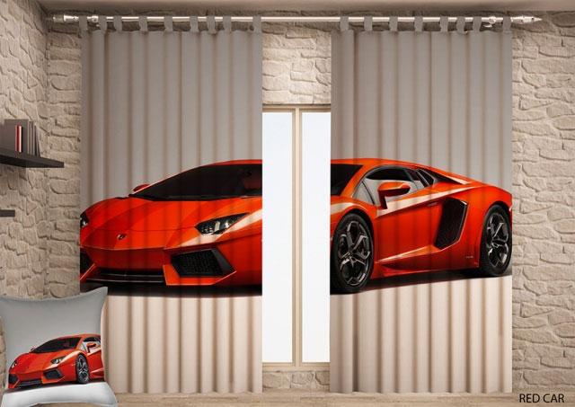 Штора Garden Красная машина, на ленте, размер 150*270 см, 2 штW678(1223)V146Комплект Garden Красная машина включает в себя 2 готовые шторы, выполненные из высококачественного полиэстера с цифровой печатью в виде машины. Лицевая сторона штор гладкая с легким блеском, изнаночная матовая. Оригинальный дизайн и цветовая гамма украсят любое окно и привлекут к себе внимание. Шторы крепятся на карниз при помощи вшитой шторной ленты, которая поможет красиво и равномерно задрапировать верх. Ширина одной шторы 150 см. Длина шторы 270 см.