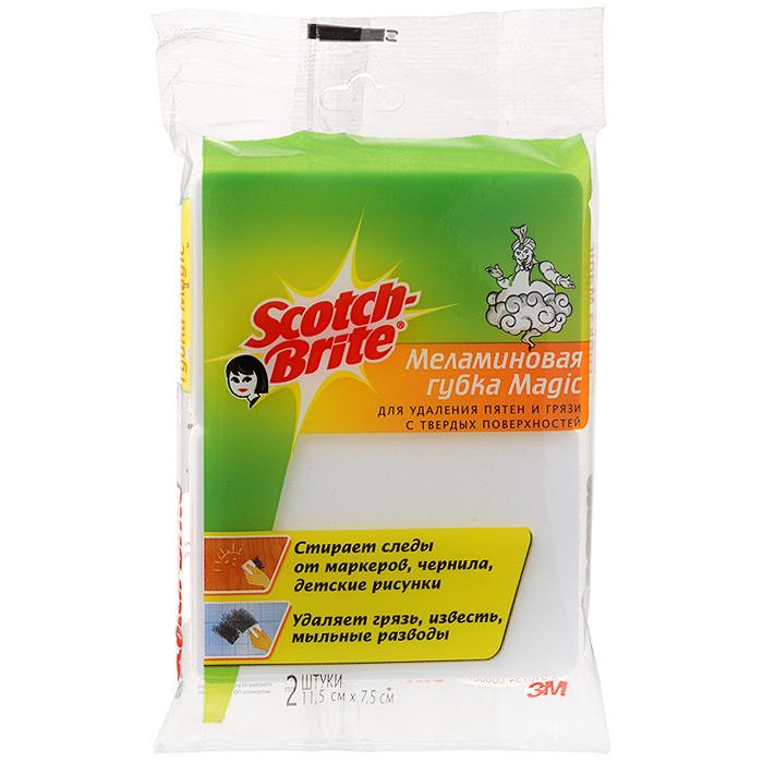 Губка Magic меламиновая, 2 штXR-0046-1500-5Меламиновая губка Magic изготовлена из меламиновой резины, это пластик нового поколения, который чистит без применения химических средств. Благодаря особой структуре захватывает грязь и впитывает ее. Губка бережно чистит любую твердую поверхность, не оставляя следов, разводов и царапин. Губка стирает детские рисунки, следы от карандашей и маркеров, чернила, пятна, разводы с пола, стен, стекол, зеркал, дверей, различных предметов интерьера и бытовой техники, удаляет грязь, известь, мыльные разводы в ванной и бережно чистит любые поверхности. Характеристики: Материал: меламиновая резина. Размер: 11 см х 7,5 см х 2,5 см. Количество: 2 шт. Производитель: Турция.