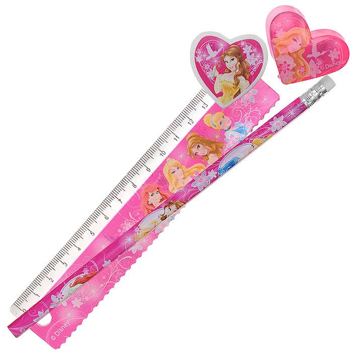Канцелярский набор Disney Princess, 4 предметаPRAB-US1-5020-HКанцелярский набор Disney Princess станет незаменимым атрибутом в учебе маленькой школьницы. Он включает в себя незаточенный чернографитный карандаш с ластиком на конце, ластик, точилку в форме сердечка и пластиковую линейку 15 см. Все предметы набора оформлены изображениями принцесс из диснеевских мультфильмов. Не рекомендуется детям до 3-х лет