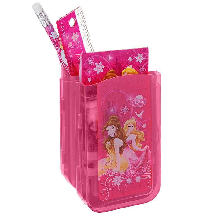 Канцелярский набор Disney Princess, 7 предметовPRBB-US1-75409-HКанцелярский набор Disney Princess станет незаменимым атрибутом в учебе любой школьницы. Он включает в себя пластиковый пенал, незаточенный чернографитный карандаш с ластиком на конце, автоматическую ручку, ластик, точилку, пластиковую линейку 15 см и небольшой блокнотик. Пенал снабжен поднимающейся подставкой для пишущих принадлежностей. Он раскрывается в центре, секции разворачиваются, и пенал можно использовать в качестве стакана для канцелярских принадлежностей. Ручка снабжена прорезиненной вставкой в области захвата, подача стержня производится путем нажатия на кнопку в верхней части ручки. Блокнотик дополнен картонной обложкой, внутренний блок содержит листы с печатью. Все предметы набора оформлены изображениями принцесс из диснеевских мультфильмов. Не рекомендуется детям до 3-х лет