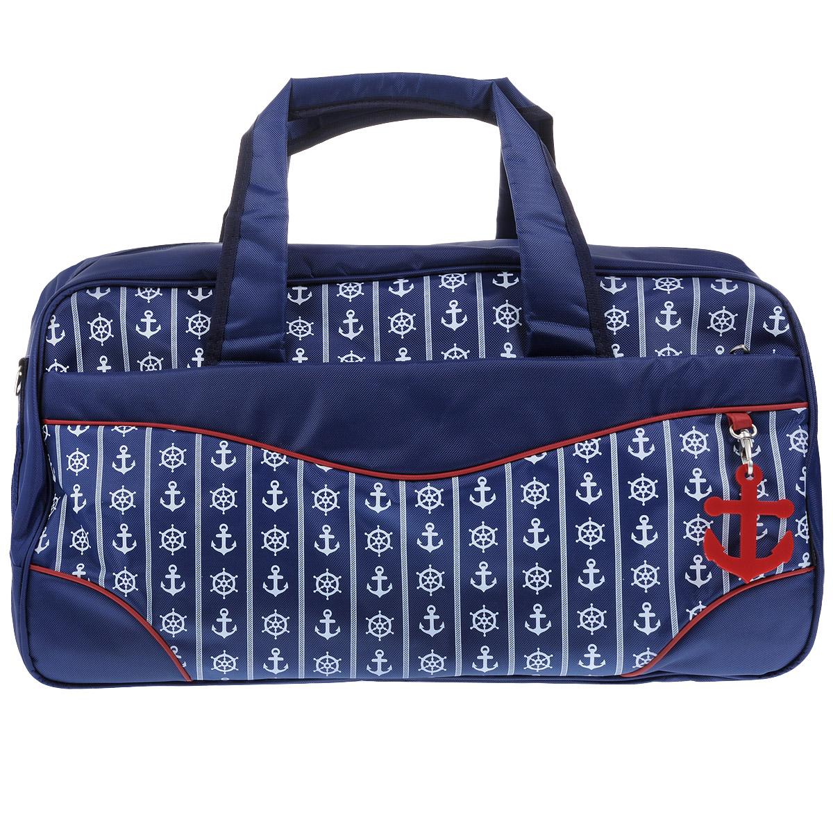 Сумка дорожная Antan Морская, цвет: синий. 2-4M2-4M морской стиль 2 ПЭ/синийВместительная дорожная сумка Antan выполнена из полиэстера и оформлена принтом в морском стиле. Сумка имеет одно отделение, закрывающееся на застежку-молнию. Внутри - вшитый карман на молнии и два открытых накладных кармашка. С внешней стороны расположены два вшитых кармана на молниях. Сумка оснащена двумя удобными ручками и съемным плечевым ремнем регулируемой длины. Такая сумка будет незаменима при походе в спортзал, а также может использоваться в качестве ручной клади во время путешествия.