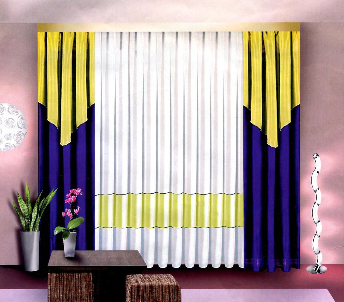 Комплект штор Zlata Korunka, на ленте, цвет: белый, желтый, синий, высота 250 см. Б024Б024 бежево/синийКомплект штор Zlata Korunka, изготовленный из легкой вуалевой ткани, станет прекрасным дополнением интерьера гостиной. В комплект входят две шторы и тюль. Тонкое плетение, оригинальный дизайн и приятная цветовая гамма привлекут к себе внимание и органично впишутся в интерьер. Все элементы комплекта оснащены шторной ленте для собирания в сборки. Материал: вуаль (100% полиэстер), ткань декоративная. В комплект входят: Штора - 2 шт. Размер (Ш х В): 200 см х 250 см. Тюль - 1 шт. Размер (Ш х В): 500 см х 250 см.