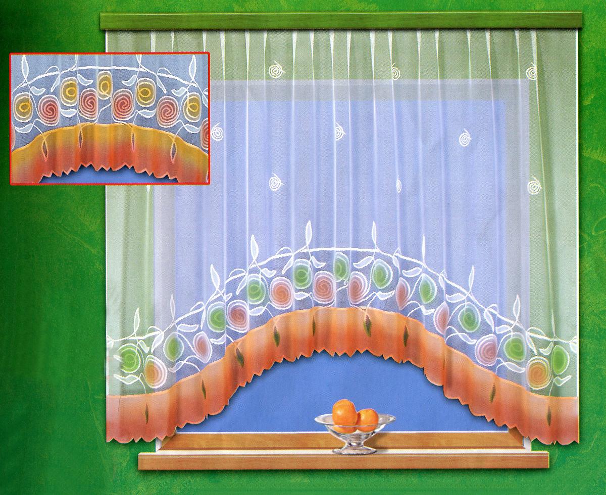 Гардина Haft, на ленте, цвет: белый, оранжевый, 300 см х 160 см. 18290/16018290/160 белая с ручной раскраскойГардина Haft изготовлена из белого кружевного маркизета - легкой, тонкой ткани, вырабатываемой из очень тонкой крученой пряжи. Изделие украшено ручной раскраской в виде красивых цветочных узоров. Тонкое плетение, оригинальный дизайн и приятная цветовая гамма привлекут к себе внимание и органично впишутся в интерьер кухни. Оригинальное оформление гардины внесет разнообразие и подарит заряд положительного настроения. Гардина оснащена шторной лентой для красивой сборки.