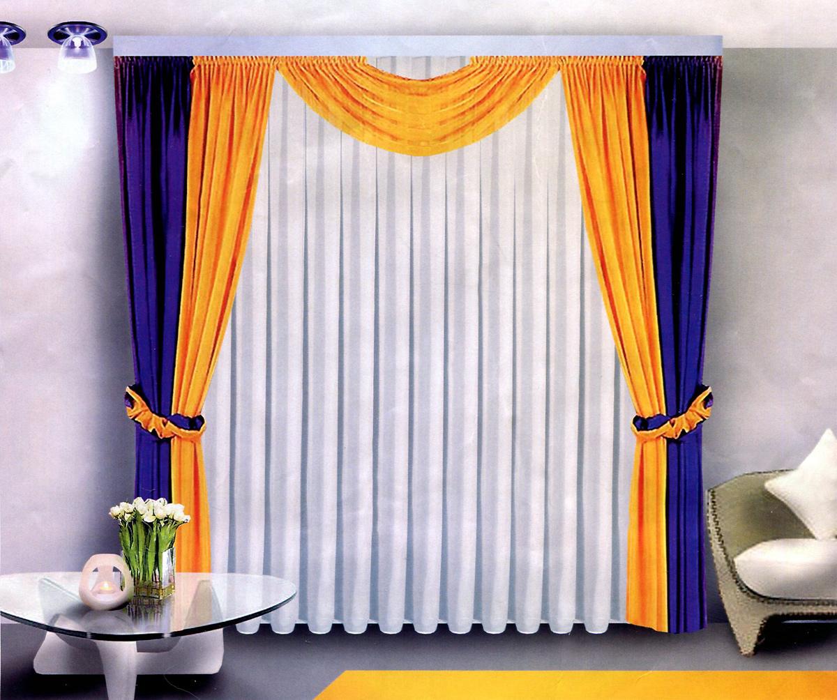 Комплект штор Zlata Korunka, на ленте, цвет: белый, желтый, синий, высота 250 см. Б022Б022 бежево/синийКомплект штор Zlata Korunka, изготовленный из легкой вуали, станет прекрасным дополнением интерьера гостиной. В комплект входят две шторы, тюль, ламбрекен и два подхвата. Тонкое плетение, оригинальный дизайн и приятная контрастная цветовая гамма привлекут к себе внимание и органично впишутся в интерьер. Все элементы комплекта оснащены шторной ленте для собирания в сборки.