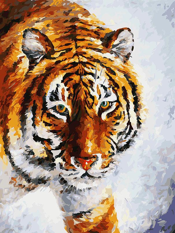 """Живопись на холсте """"Тигр на снегу"""", 30 см х 40 см ( 780-AS )"""