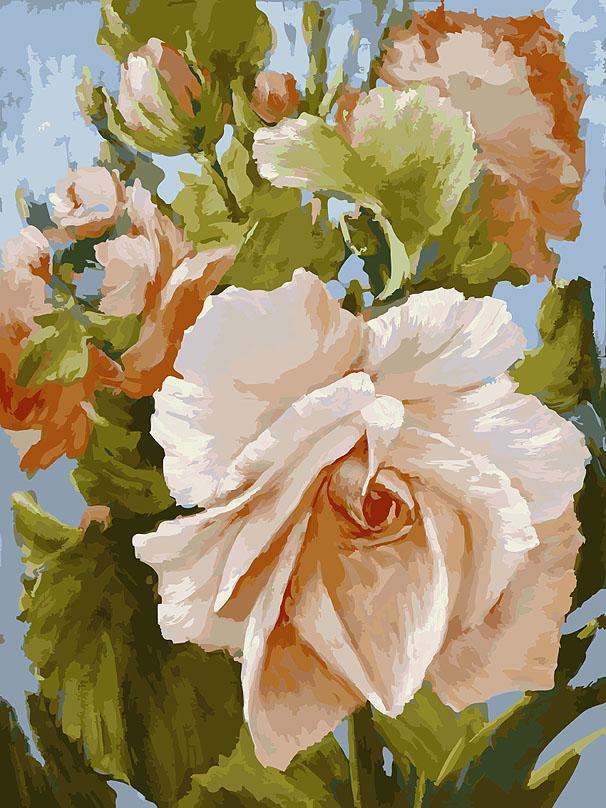 Живопись на холсте Роза, 30 х 40 см781-ASЖивопись на холсте Роза - это набор для раскрашивания по номерам акриловыми красками на холсте. В набор входят: - холст на подрамнике с нанесенным рисунком, - пробный лист с нанесенным рисунком, - набор акриловых красок, - 2 кисти, - настенное крепление для готовой картины. Каждая краска имеет свой номер, соответствующий номеру на картинке. Нужно только аккуратно нанести необходимую краску на отмеченный для нее участок. Таким образом, шаг за шагом у вас получится великолепная картина. С помощью серии наборов Живопись на холсте вы можете стать настоящим художником и создателем прекрасных картин. Вы получите истинное удовольствие от погружения в процесс творчества и созданные своими руками картины украсят интерьер вашего дома или станут прекрасным подарком. Техника раскрашивания на холсте по номерам дает возможность легко рисовать даже сложные сюжеты. Прекрасно развивает художественный вкус, аккуратность и внимание. Набор...