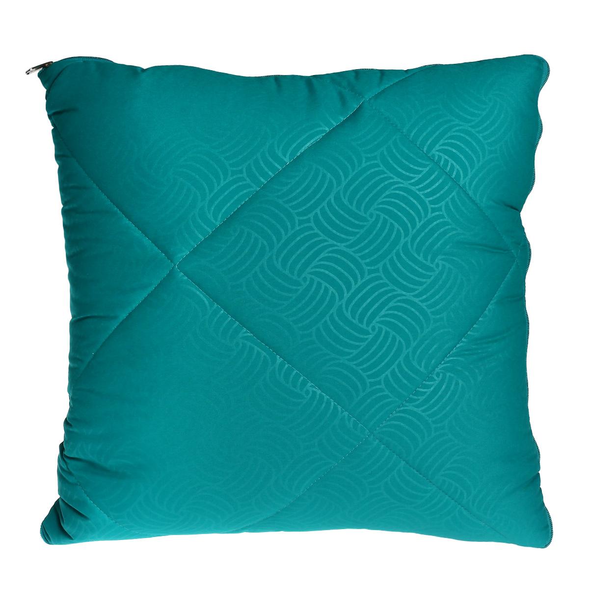 Плед-подушка OL-Tex, наполнитель: полиэфирное волокно Holfiteks, цвет: морская волна, 135 х 200 см, 50 х 50 см ol tex ol tex плед   подушка   палантин