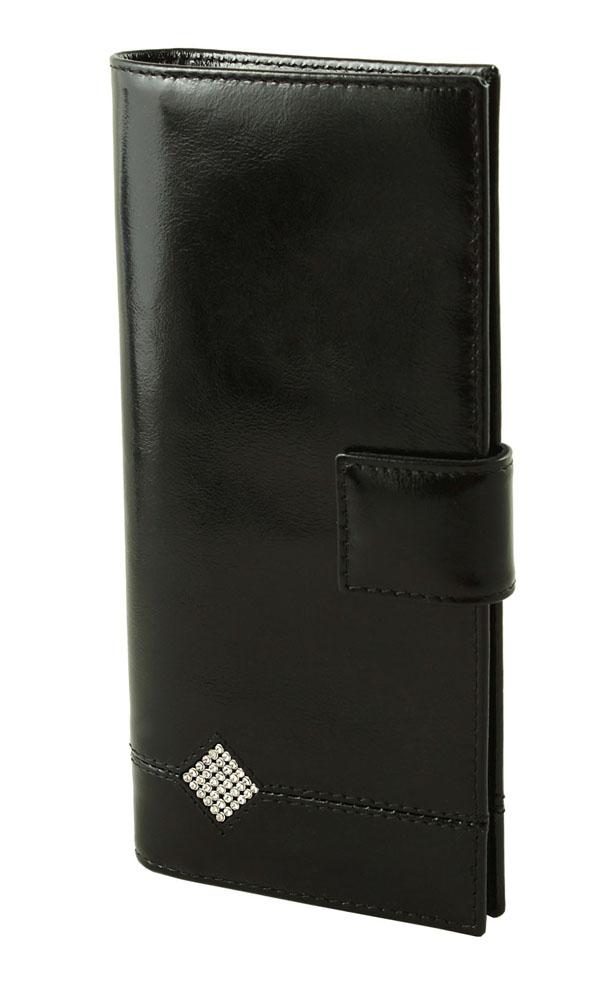 Портмоне женское Dimanche Daimond, цвет: черный. 177177Стильное женское портмоне Dimanche Daimond изготовлено из натуральной лакированной кожи. Закрывается хлястиком на кнопку. Внутри содержится пять отделений для купюр, карман на молнии для мелочи, одиннадцать карманов для пластиковых карт и 2 кармашка для сим-карт. Оформлено изделие аппликацией из стразов в виде ромба. Фурнитура - серебристого цвета. Стильное портмоне отлично дополнит ваш образ и станет незаменимым аксессуаром на каждый день. Упаковано в фирменную картонную коробку.