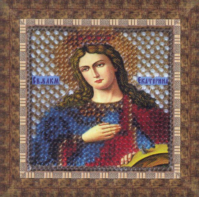 Набор для вышивания бисером Икона Святая Великомученица Екатерина, 6,5 см х 6,5 см680615