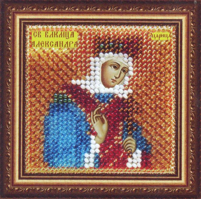 Набор для вышивания бисером Икона Святая Мученица царица Александра Римская, 6,5 см х 6,5 см680617