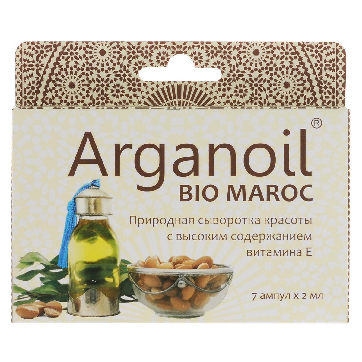 Дом Арганы Масло Арганы для лица и тела Arganoil Bio Maroc, косметическое, 7х2 мл70667Уникальный эликсир молодости и красоты. Высокое содержание природного витамина Е и ненасыщенных жирных кислот. Масло питает, смягчает, усиливает обменные и регенерационные процессы кожных покровов, стимулирует выработку эластина и коллагена, запускает в организме процессы метаболизма и интенсивного омолаживающего действия. Увлажняет, защищая кожу от сухости и раздражения. Прекрасно впитывается, улучшая состояние кожного покрова. Разглаживает неглубокие морщины, подтягивая контур лица. Идеально подходит для любого типа кожи. Товар сертифицирован.
