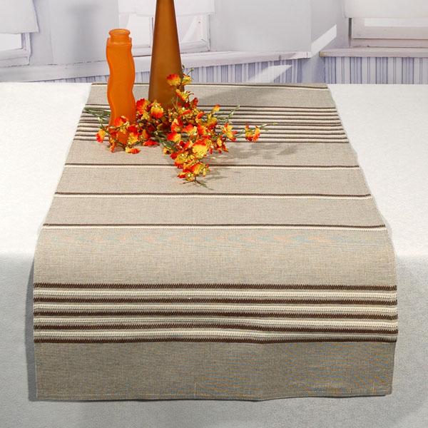 Дорожка для декорирования стола Schaefer, прямоугольная, цвет: бежевый, коричневый, 50 x 140 см 06708-24006708-240Дорожка Schaefer выполнена из высококачественного хлопка и украшена вышитым рисунком в виде полосок. Вы можете использовать дорожку для декорирования стола, комода или журнального столика. Благодаря такой дорожке вы защитите поверхность мебели от воды, пятен и механических воздействий, а также создадите атмосферу уюта и домашнего тепла в интерьере вашей квартиры. Изделия из искусственных волокон легко стирать: они не мнутся, не садятся и быстро сохнут, они более долговечны, чем изделия из натуральных волокон. Изысканный текстиль от немецкой компании Schaefer - это красота, стиль и уют в вашем доме. Дорожка органично впишется в интерьер любого помещения, а оригинальный дизайн удовлетворит даже самый изысканный вкус. Дарите себе и близким красоту каждый день!