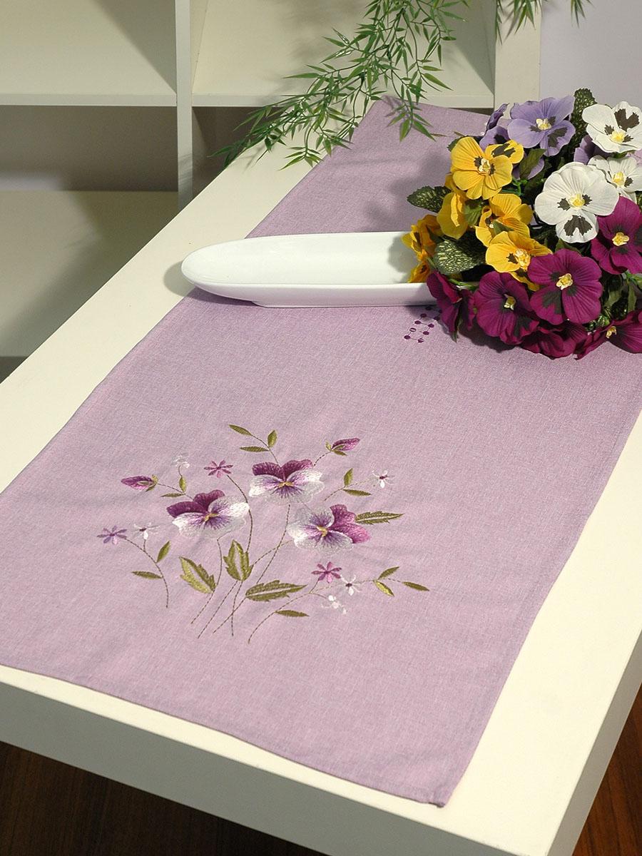 """Дорожка для декорирования стола """"Schaefer"""", прямоугольная, цвет: сиреневый, 40 x 140 см 07147-211"""
