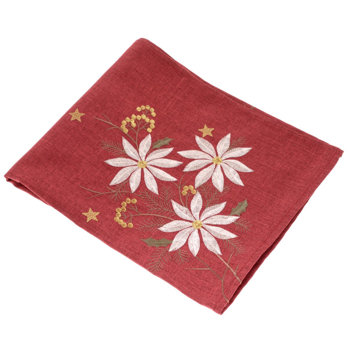 Скатерть Schaefer, квадратная, цвет: бордовый, 85 x 85 см. 07160-10007160-100Скатерть Schaefer выполнена из высококачественного полиэстера и декорирована серебристо-золотистой цветочной вышивкой. Изделия из полиэстера легко стирать: они не мнутся, не садятся и быстро сохнут, они более долговечны, чем изделия из натуральных волокон. Вы можете использовать скатерть для декорирования стола, комода, журнального столика. В любом случае она добавит в ваш дом стиля, изысканности и неповторимости. Идеальный вариант для подарка вашим друзьям и близким.