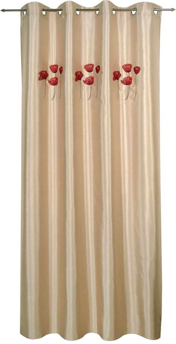 Гардина Schaefer на кольцах, цвет: серый, красный, 140 см х 235 см. 07201-91307201-913Гардина Schaefer выполнена из полиэстера и украшена цветочной вышивкой. Гардина крепится к карнизу при помощи металлических колец. Она прекрасно подойдет для подвешивания на настенный карниз. Оригинальное оформление гардины внесет разнообразие и подарит заряд положительного настроения.