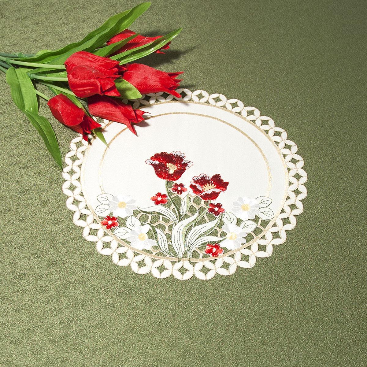 Салфетка Schaefer, круглая, цвет: бежевый, диаметр 30 см07380-315Салфетка Schaefer изготовлена из высококачественного 100% полиэстера. Края салфетки оформлены перфорацией. Изделие декорировано изысканной вышивкой из цветов, что придает роскошный внешний вид. Изделие легко стирать и гладить, не требует специального ухода. Изысканный текстиль от немецкой компании Schaefer - это красота, стиль и уют в вашем доме. Благодаря декоративным салфеткам ваш стол заиграет новыми красками, ведь именно небольшие и милые акценты задают тон и настроение за столом. Дарите себе и близким красоту каждый день.