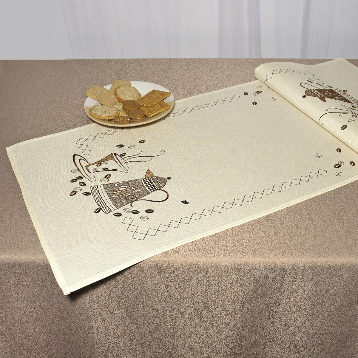 Дорожка для декорирования стола Schaefer, прямоугольная, цвет: кремовый, коричневый, 40 x 110 см 07479-23307479-233Дорожка Schaefer выполнена из высококачественного полиэстера и украшена вышитым рисунком. Вы можете использовать дорожку для декорирования стола, комода или журнального столика. Благодаря такой дорожке вы защитите поверхность мебели от воды, пятен и механических воздействий, а также создадите атмосферу уюта и домашнего тепла в интерьере вашей квартиры. Изделия из искусственных волокон легко стирать: они не мнутся, не садятся и быстро сохнут, они более долговечны, чем изделия из натуральных волокон. Изысканный текстиль от немецкой компании Schaefer - это красота, стиль и уют в вашем доме. Дорожка органично впишется в интерьер любого помещения, а оригинальный дизайн удовлетворит даже самый изысканный вкус. Дарите себе и близким красоту каждый день!