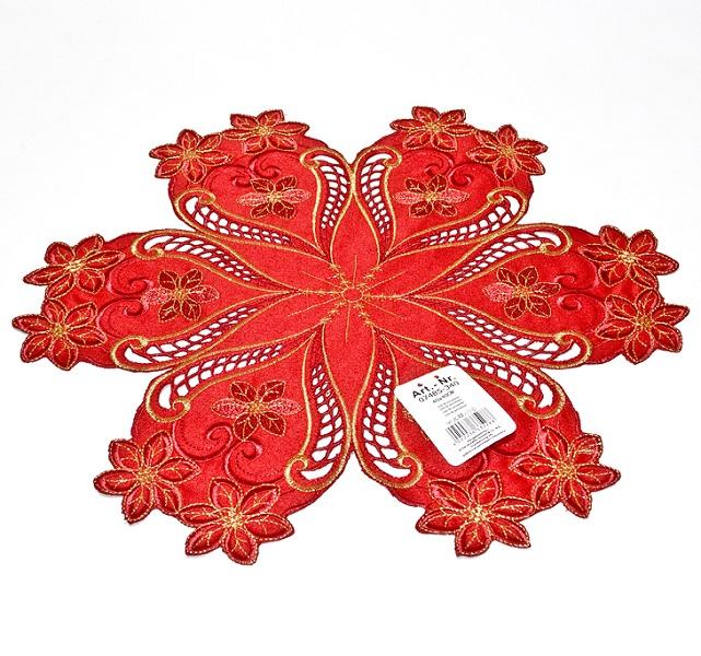 Салфетка Schaefer, круглая, цвет: красный, диаметр 40 см07485-340Салфетка Schaefer с цветочными мотивами изготовлена из высококачественного полиэстера красного цвета. Изделие оформлено изысканной вышивкой золотистым люрексом, что придает роскошный внешний вид. Изысканный текстиль от немецкой компании Schaefer - это красота, стиль и уют в вашем доме. Благодаря декоративным салфеткам ваш стол заиграет новыми красками, ведь именно небольшие и милые акценты задают тон и настроение за столом. Дарите себе и близким красоту каждый день! Изделие легко стирать и гладить, не требует специального ухода.