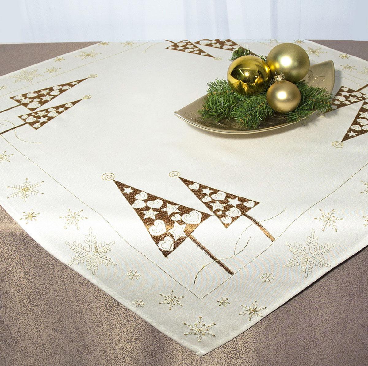 Скатерть Schaefer, квадратная, цвет: бежевый, золотистый, 85 x 85 см. 07486-10007486-100Скатерть Schaefer изготовлена из полиэстера и украшена новогодней вышивкой. Изделия из полиэстера легко стирать: они не мнутся, не садятся и быстро сохнут, они более долговечны, чем изделия из натуральных волокон. Кроме того, ткань обладает водоотталкивающими свойствами. Такая скатерть будет просто не заменима на кухне, а особенно на вашем обеденном столе на даче под открытым небом. Скатерть Schaefer не останется без внимания ваших гостей, а вас будет ежедневно радовать ярким дизайном и несравненным качеством. Немецкая компания Schaefer создана в 1921 году. На протяжении всего времени существования она создает уникальные коллекции домашнего текстиля для гостиных, спален, кухонь и ванных комнат. Дизайнерские идеи немецких художников компании Schaefer воплощаются в текстильных изделиях, которые сделают ваш дом красивее и уютнее и не останутся незамеченными вашими гостями. Дарите себе и близким красоту каждый день! Изысканный...