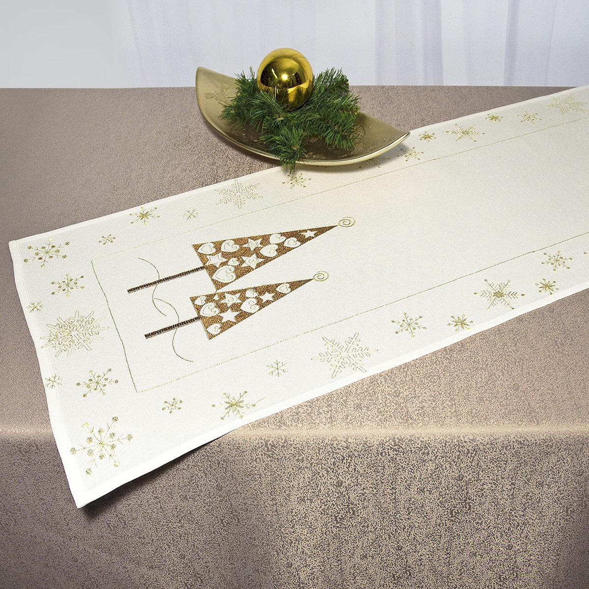 Дорожка для декорирования стола Schaefer, прямоугольная, цвет: белый, золотистый, 40 x 110 см 07486-23307486-233Дорожка Schaefer выполнена из высококачественного полиэстера и украшена вышитыми рисунками в виде новогодних елочек и снежинок. Вы можете использовать дорожку для декорирования стола, комода или журнального столика. Благодаря такой дорожке вы защитите поверхность мебели от воды, пятен и механических воздействий, а также создадите атмосферу уюта и домашнего тепла в интерьере вашей квартиры. Изделия из искусственных волокон легко стирать: они не мнутся, не садятся и быстро сохнут, они более долговечны, чем изделия из натуральных волокон. Изысканный текстиль от немецкой компании Schaefer - это красота, стиль и уют в вашем доме. Дорожка органично впишется в интерьер любого помещения, а оригинальный дизайн удовлетворит даже самый изысканный вкус. Дарите себе и близким красоту каждый день!
