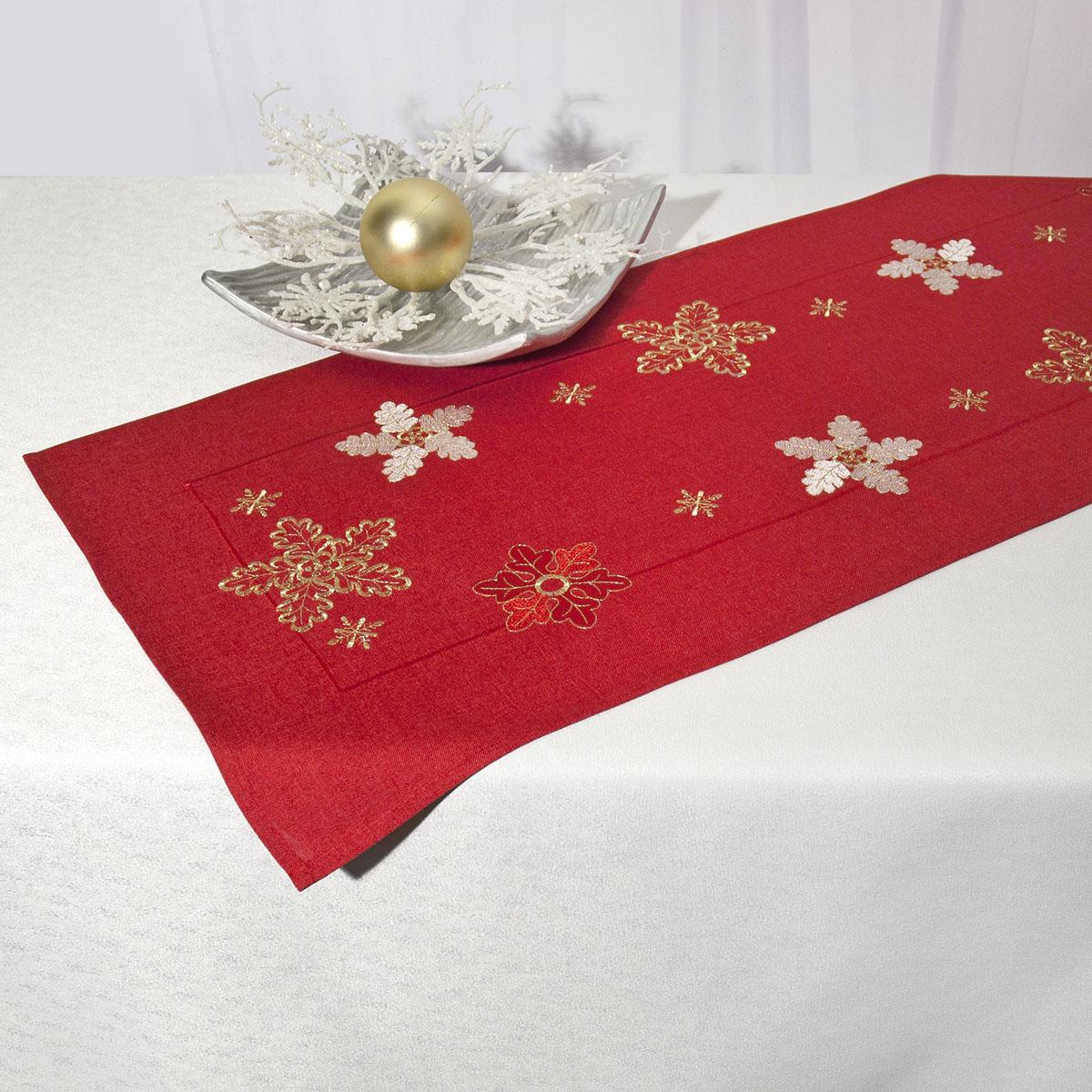 Дорожка для декорирования стола Schaefer, прямоугольная, цвет: красный, 40 x 110 см 07490-23307490-233Дорожка Schaefer выполнена из высококачественного полиэстера и украшена вышитым рисунком в виде снежинок. Вы можете использовать дорожку для декорирования стола, комода или журнального столика. Благодаря такой дорожке вы защитите поверхность мебели от воды, пятен и механических воздействий, а также создадите атмосферу уюта и домашнего тепла в интерьере вашей квартиры. Изделия из искусственных волокон легко стирать: они не мнутся, не садятся и быстро сохнут, они более долговечны, чем изделия из натуральных волокон. Изысканный текстиль от немецкой компании Schaefer - это красота, стиль и уют в вашем доме. Дорожка органично впишется в интерьер любого помещения, а оригинальный дизайн удовлетворит даже самый изысканный вкус. Дарите себе и близким красоту каждый день!