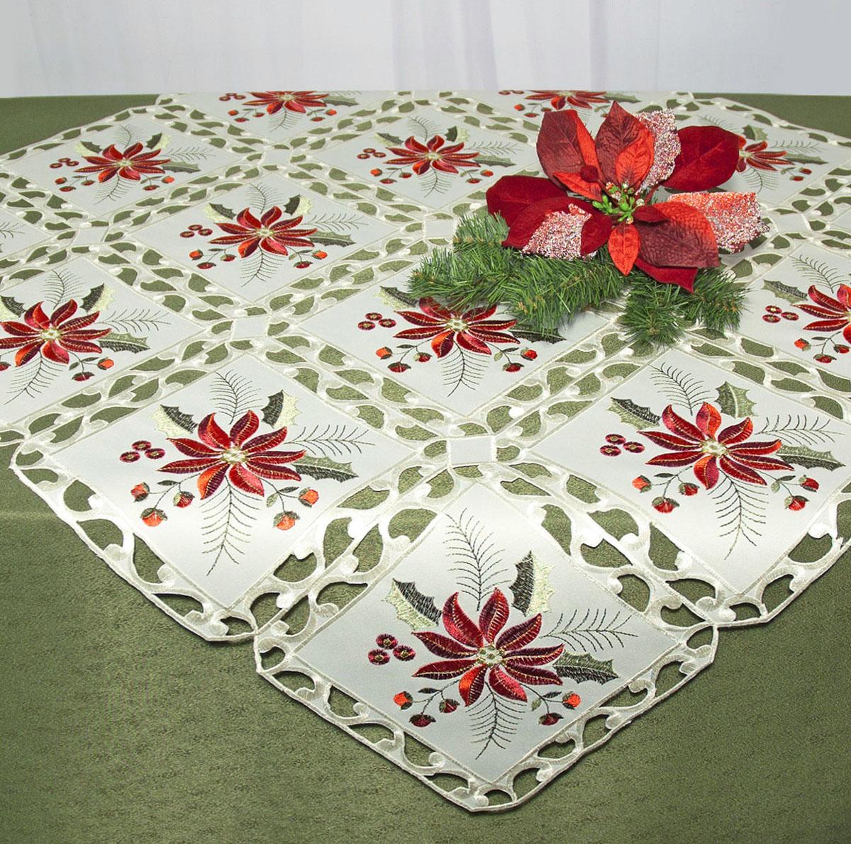 Скатерть Schaefer, квадратная, цвет: бежевый, красный, 85 x 85 см. 07491-10007491-100Скатерть Schaefer изготовлена из полиэстера и декорирована вышитыми в технике ришелье цветами. Изделия из полиэстера легко стирать: они не мнутся, не садятся и быстро сохнут, они более долговечны, чем изделия из натуральных волокон. Кроме того, ткань обладает водоотталкивающими свойствами. Такая скатерть будет просто не заменима на кухне, а особенно на вашем обеденном столе на даче под открытым небом. Скатерть Schaefer не останется без внимания ваших гостей, а вас будет ежедневно радовать ярким дизайном и несравненным качеством. Немецкая компания Schaefer создана в 1921 году. На протяжении всего времени существования она создает уникальные коллекции домашнего текстиля для гостиных, спален, кухонь и ванных комнат. Дизайнерские идеи немецких художников компании Schaefer воплощаются в текстильных изделиях, которые сделают ваш дом красивее и уютнее и не останутся незамеченными вашими гостями. Дарите себе и близким красоту каждый...