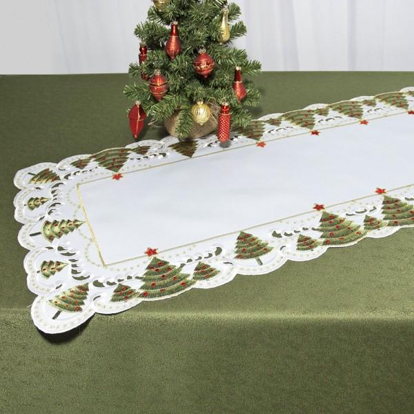 Дорожка для декорирования стола Schaefer, прямоугольная, цвет: белый, зеленый, 40 x 110 см 07494-23307494-233Дорожка Schaefer выполнена из высококачественного полиэстера и украшена вышитыми рисунками в виде новогодних елочек. Края дорожки оформлены в технике ришелье. Вы можете использовать дорожку для декорирования стола, комода или журнального столика. Благодаря такой дорожке вы защитите поверхность мебели от воды, пятен и механических воздействий, а также создадите атмосферу уюта и домашнего тепла в интерьере вашей квартиры. Изделия из искусственных волокон легко стирать: они не мнутся, не садятся и быстро сохнут, они более долговечны, чем изделия из натуральных волокон. Изысканный текстиль от немецкой компании Schaefer - это красота, стиль и уют в вашем доме. Дорожка органично впишется в интерьер любого помещения, а оригинальный дизайн удовлетворит даже самый изысканный вкус. Дарите себе и близким красоту каждый день!