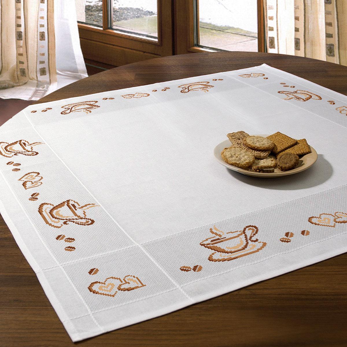 Набор для вышивания скатерти крестом Schaefer, 90 х 90 см 6776/2036776/203Красивый рисунок-вышивка, выполненный на скатерти, выглядит стильно и модно. Такая скатерть великолепно украсит кухонный стол, а вышивание отвлечет вас от повседневных забот и превратится в увлекательное занятие! Работа, сделанная своими руками, создаст особый уют и атмосферу в доме и долгие годы будет радовать вас и ваших близких, а также станет прекрасным подарком. Вышитая своими руками скатерть может стать настоящей реликвией в вашей семье, так как будет хранить теплоту вашего сердца и рук. Набор для вышивания содержит все необходимые материалы для вышивания на скатерти швом счетный крест в три нити. В состав набора входит: - скатерть белого цвета с обработанным краем, рисунок не нанесен (100% хлопок, 90х90 см), - вышивальные нитки (3 цвета, 100% хлопок), - игла, - цветная символьная схема, - подробная инструкция. Изысканный текстиль от немецкой компании Schaefer - это красота, стиль и уют в вашем доме.